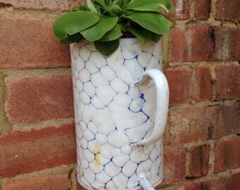 Enamel hanging jug, vintage plant container, white and blue, wall hanging jug, irrigator jug