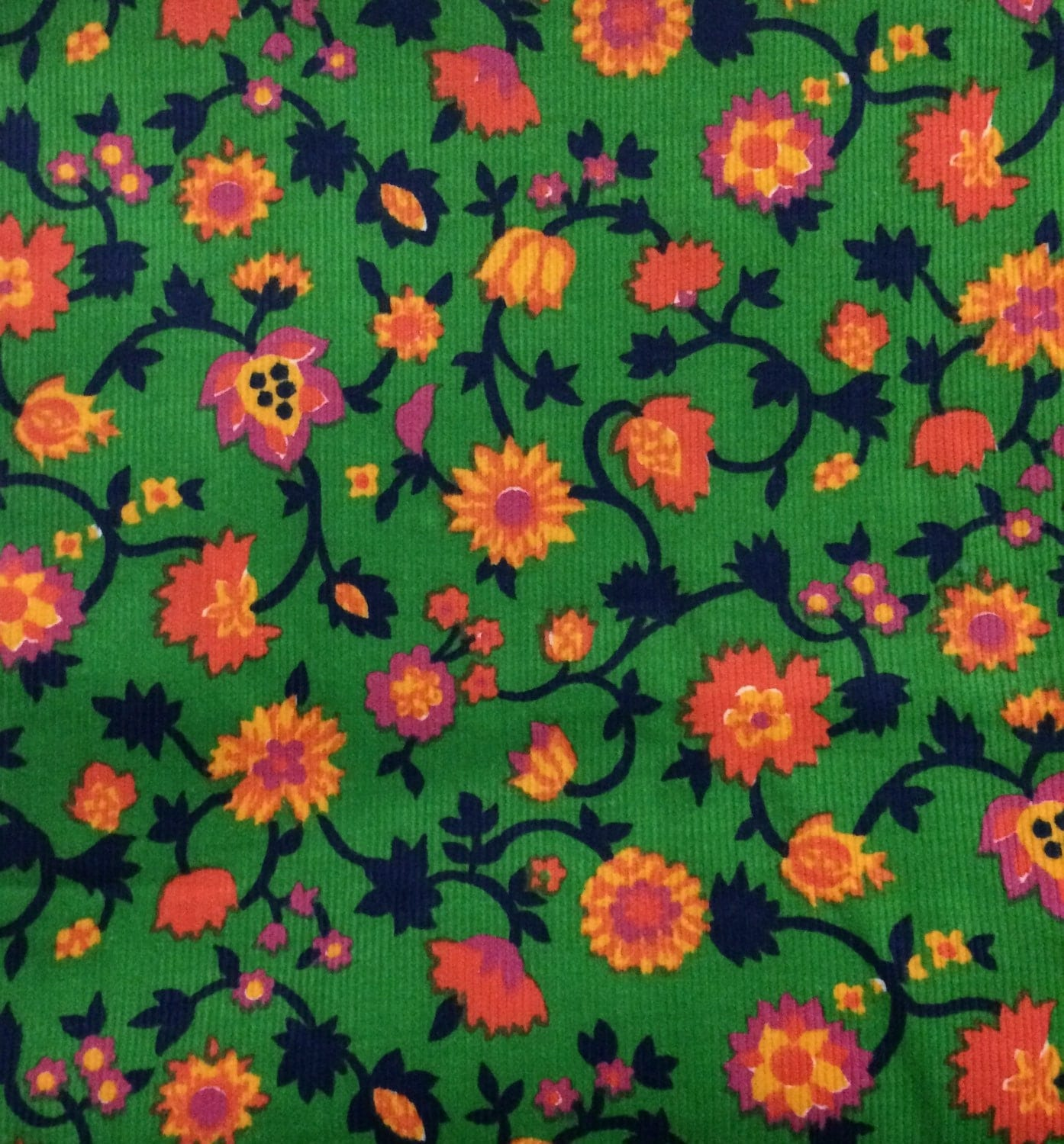 Corduroy fabric green floral corduroy fabric vintage for Corduroy fabric