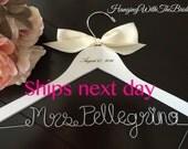 RUSH ORDER, ship next business day---Wedding Hanger,  Name Hanger, Wedding Hanger, Personalized Bridal Gift, Bride gift ideas,Dress hanger