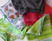 RESERVEDVera Scarves Five Verasheer Rayon Silk Rectangular Spring Green Red Black White Floral Stripes Retro Scarf 60s 70s Mother's Day Gift