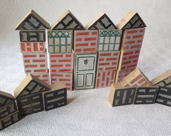 Vintage Wooden Blocks House Building Reversible Bricks Door Windows Roof 1940s Set of 30 Children's Toys Architectural Blocks