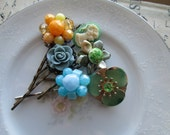 Vintage Hair Pin Set Bouquet, Repurposed Earrings, Cameo, Flowers, Silver, Antiqued Brass, Antiqued Bronze Filigree, Blue Green