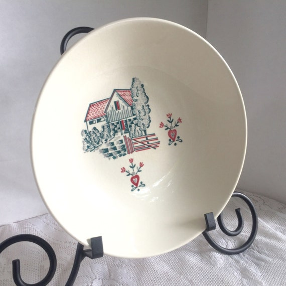 Vintage Stetson Serving Bowl Red Barn White China Hand Decorated Dish