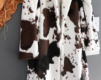 Full Length Faux Fur Coat-Black/Brown/White