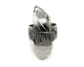 Chunky Natural Raw Clear Quartz Point Stone Adjustable Silver Healing Statement Ring