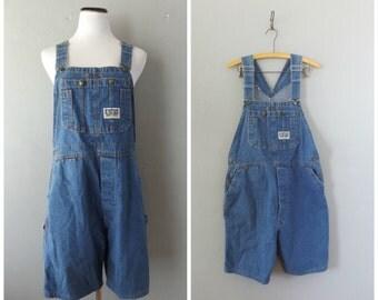 Big Smith Overall Shorts Vintage 80s Womens Suspender Shorts Bib Romper Size M Medium Blue Jean Jumper Dress Hippie Boho Hipster 1980s Bibs