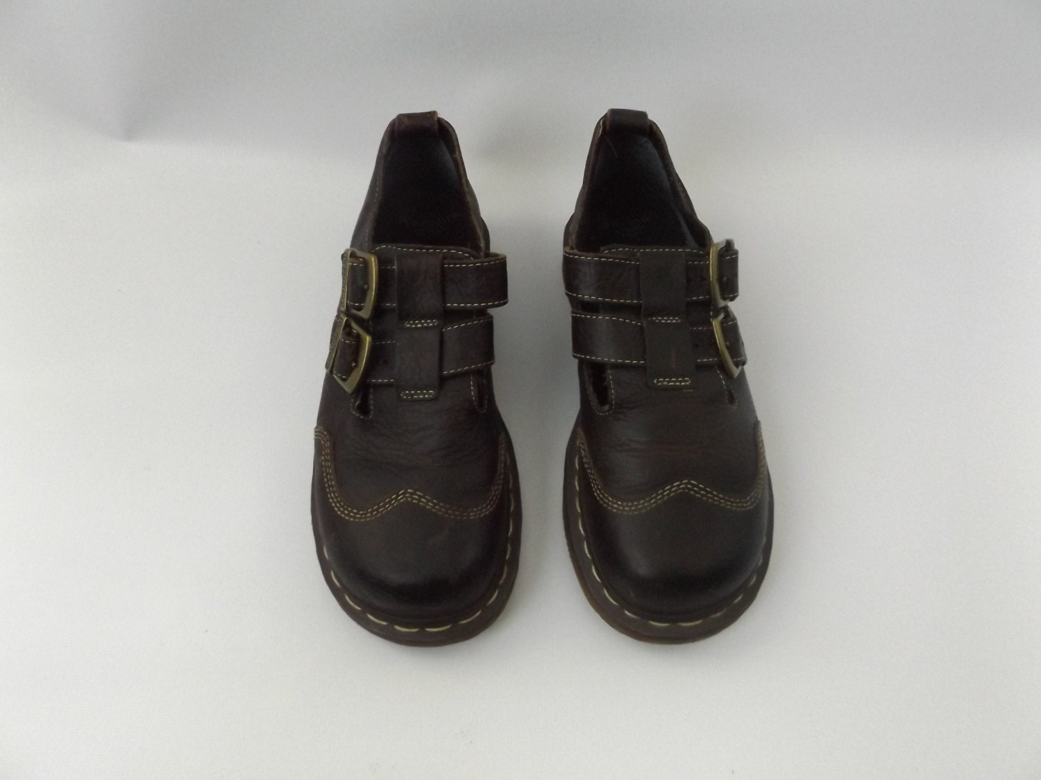 Dr Marten Mary Jane Shoes Brown Leather Double Buckle 90s