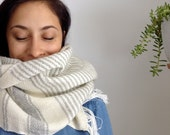 Handwoven wool scarf 002 - one of a kind grey white gray weaving with fringe