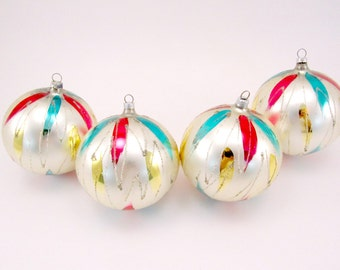 West German Vintage Glass Christmas Ornaments 1960s Christmas Decorations Hand Painted Baubles