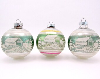 1950s Shiny Brite Christmas Ornaments Vintage Glass Stenciled Christmas Decorations Silver and Green Baubles