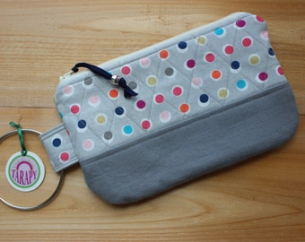 Small Quilted Wristlet Light Gray with Multi-colored Polka Dots Gray Canvas
