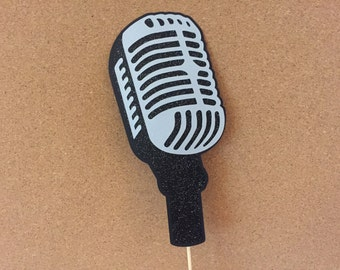 Microphone photo prop, retro microphone prop, Wedding photo prop, birthday photo booth prop
