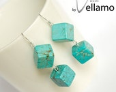 SALE December birthstone ear-rings with cube turquoise gemstones, delicate blue turquoise color, sterling silver cubic dangle earrings
