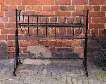 Vintage Swinging Nursery Crib, Vintage childs cot, garden planter, log basket, black painted metal crib, swinging crib