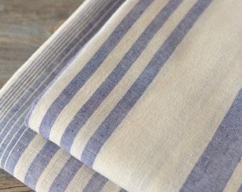 Blue and White Stripes Cotton Fabrics MJ483