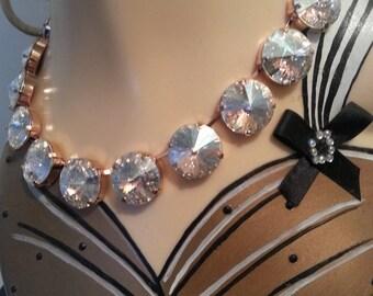 14k rose gold filled Swarovski crystal necklace