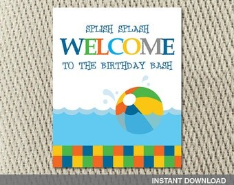 16x20 Poster - Pool Party - Make a Splash - Beach Ball - Party - Happy Birthday - Instant Download - DIY Digital Decorations