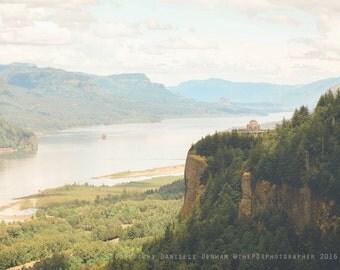 Oregon Photograph | Columbia River Gorge | Crown Point | Vista House | Travel Photograph | High Key Photo | Landscape Photography