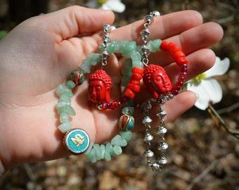 "Buddhist silver gemstone necklace ""ah""  Buddha head bead adventurine coral seed bead silver chain necklace tibetan jewelry"