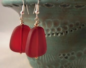 Burgundy Red Sea Glass Silver Earrings