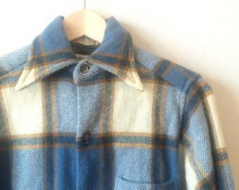 Vintage 70s Gant Woolster Miller Bros Plaid Blue White Womens XS - S Boys Small