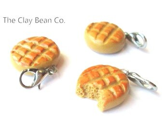 Peanut Butter Cookie Stitch Markers CROCHET CLASP Handmade set of 3