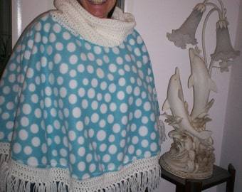 Super Fun Polka Dotted Fleece and Crocheted Poncho with Cowl/Hood