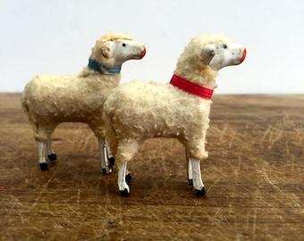 Vintage Wooly Lamb / Set of 2