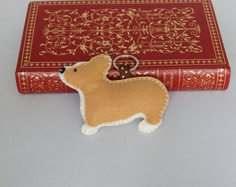 Welsh Corgi Keychain, Felt Key ring, Dog Bag Charm, Zipper Pull, Stocking Stuffer