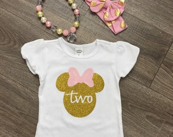 Minnie Mouse Birthday Outfit, Minnie Mouse Birthday Shirt, Minnie Mouse Top, Minnie Birthday Shirt, Girls 2nd Birthday Outfit