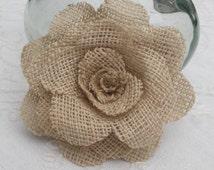 Custom set of 5 rustic burlap flowers for wedding / home decoration
