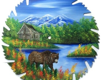Hand Painted Saw Blade Mountain Summer Log Cabin and Brown Bear R/Y Flowers
