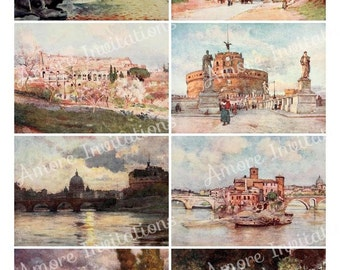 Printable Vintage Rome, Italy Digital Collage Sheet - ATC - JPEG - PDF - Instant Download - Downloadable - Commercial use / Cu use ok