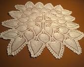 "Centerpiece 33""  Doily  Hand Crochet, Pineapple Pattern"