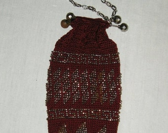 Christmas in Sept Sale Burgandy crocheted purse with metal beads - Civil War era