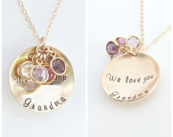 Birthstone Mom Necklace, Necklace, Grandma Gift, Personalized Necklace, Gold Disc Necklace/ Personalized Jewelry