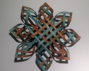 Scandinavian Star Christmas Tree Topper Star of Bethlehem - Turquoise and Brown Dyed - Large Size