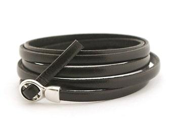 Genuine Black Leather Men's Wrap Bracelet, Black Boho Bracelet, Men's Bracelet, Leather Cuff Men's, Men's Jewelry, Gift for Him