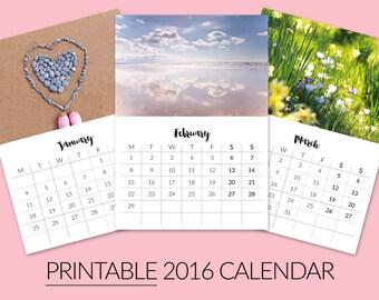 Printable Desktop Calendar 2016 - Nature Calendar - 2016 Calendar - Photography Calendar - Digital Download - DIY Calendar