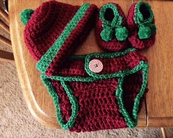 Holiday Diaper Cover ,Hat and Bootie Set