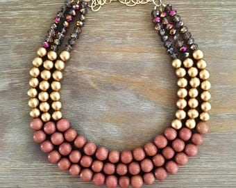 Rose Gold & Sparkling Gold Statement Necklace