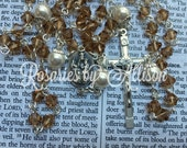 Light Smoked Topaz Swarovski crystal bicone and White Swarovski pearl rosary with silver Our Lady of Mount Carmel center and crucifix