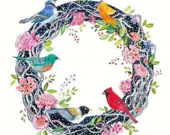 Wreath Art - Flowers and Birds Wreath - Five Birds - Print of original Watercolor