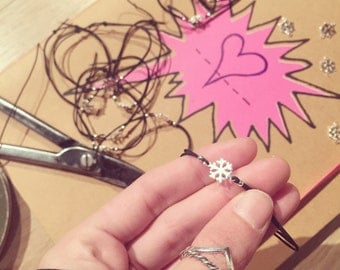 mini silver snowflake with string