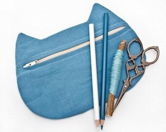 Blue Cosmetic Bag Linen Cat Makeup Bag Cats Pencil Case Toiletries Bag Makeup Organizers Zipper pouch Mother Day Gift Girlfriend Gift