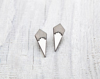 Stud earrings, Geometric Tribal post earrings, Gray White Ear Studs, native post earrings, Gifts for Women, ethnic jewelry, Mom Gift