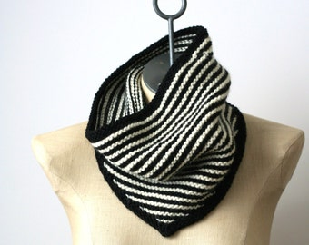 Black and White Stripe Bandana Cowl - Hand Knit Bandana - Merino Wool Bandana Scarf - Striped Scarf - Black and White Scarf - Infinity Scarf