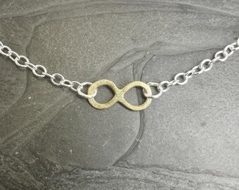 Infinity - matte 9ct textured and silver necklace or bracelet, handmade, UK