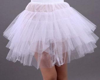 3 Layer Short Knee Crinoline Petticoat Underskirt Sz XS to M