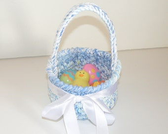 Keepsake Easter Basket, Baby Boy's First Basket in Blue and white cotton with White Satin Bow, Baby Shower Gifts, Child safe soft baskets